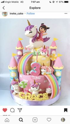 Bolo para Festa Unicórnio. Birthday Cake Girls, Unicorn Birthday Cakes, Unicorn Party Baby Cakes, Girl Cakes, Cupcake Cakes, Diy Birthday Cake, Unicorn Birthday Parties, Birthday Gifts, Unicorn Cake Pops, Unicorn Rainbow Cake, Unicorn Cakes