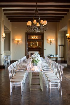 Long Glass-Topped Reception Tables | Brides.com