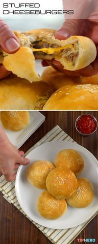 How To Make A New Kind Of Stuffed Cheeseburger - Grilling up burgers for a crowd? Try these stuffed cheeseburgers! Enjoy all the beef, bacon, cheese, pickles and onions, mixed up and baked inside a biscuit. The result is a cross between a burger bomb and a slider, and it is delicious! - video and recipe  : TipHero