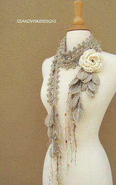 Shawl Crochet, Crochet Scarves, Knit Crochet, Crocheted Scarf, Crochet Crafts, Crochet Projects, Crochet Accessories, Crochet Flowers, Crochet Flower Scarf