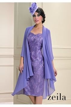 e8ed05cf2559 Zeila two-tone lace dress with floaty mauve chiffon jacket. Product code   3020249