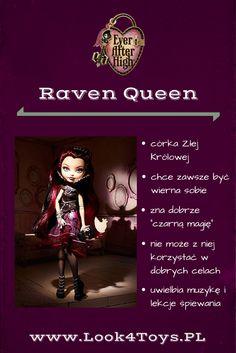 """Raven Queen - córka Złej Królowej z baśni """"Królewna Śnieżka i siedmiu krasnoludków"""". Raven Queen mieszka i uczy się w Ever After High. #RavenQueen #EverAfterHigh #Look4ToysPL"""
