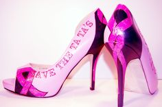 Peep toe pumps, pink with breast cancer awareness design, custom order with lettering of your choice.. $105.00, via Etsy.
