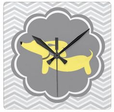 Yellow & Gray Chevrons Dachshund Wall Clock