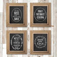Chalkboard print set, Bible verse print, Christian, Gallery wall decor - INSTANT DOWNLOAD