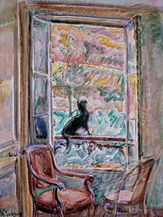 Black Cat On A Window Railing Nicolas Tarkhoff (1871-1930/Russian)