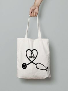 Nurse Tote Bag Personalised Gift Monogrammed Personalized Canvas Doctor