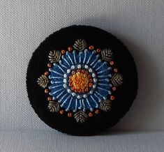Hand Made Brooch Felted Wool with Appliqued door QuiltShenanigans