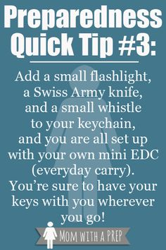 Preapreadness Quick Tip Create a Mini EDC Want to have some handy tools around with you all of the time? Get rid of the little fru-fru keychain fobs and add in some mini keychain tools. Hurricane Preparedness, Emergency Preparedness Kit, Emergency Preparation, Emergency Supplies, Emergency Bag, Survival Supplies, Best Emergency Food, Emergency Planning, Emergency Management