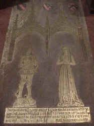 Richard and Margaret Culpeper Brass at St. Peter's Church in Ardingly. West Sussex. The childless couple, Richard Culpeper (died 1516) and his wife Margaret Wakefield (died 1509).