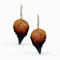 Ombre leaf earrings with diamond accents - Simon G's Organic Allure Collection