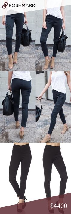 Black Moto Jegging With Ankle Zipper Detail Coming❣️Black Moto Jegging With Ankle Zipper Detail and thick elastic waistband. Each color wash is slightly different. Also Available in Olive. 60% Cotton 35% Nylon 5% Spandex. No Trades. Price is Firm Unless Bundled. Glamvault Jeans