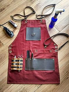 Professional Barber and Salon Accessories Barber Accessories, Barber Apron, Barbershop Design, Barbershop Ideas, Barber Shop Decor, Shop Apron, Work Aprons, Leather Apron, Apron Designs