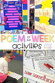Teach poetry in your primary classroom with a poem of the week and complete tons of activities to help build fluency and word knowledge. Children love to read and practice weekly poems. Grab FREE poems for your classroom. #poetry #poetryforkids #poemoftheweek #earlyliteracy #teachingreading #poemsforkids #poetrywriting
