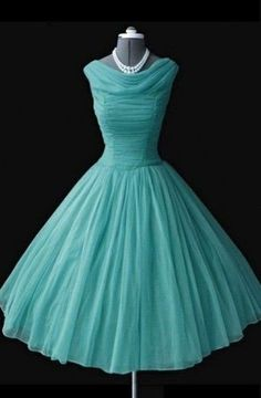 07ee503457c0e2 Vintage Ball Gown A-line Knee-Length Chiffon Mint Homecoming Dress TR0064