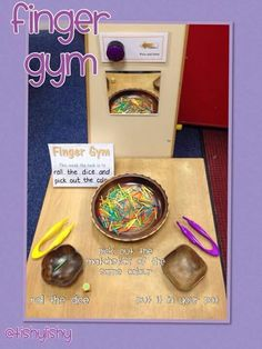 Finger Gym activity - colour matching but could be countingTherapists can use tongs to have children work on various grasps such as pincer, three-jaw chuck, and a tripod grasp to pick up objects and place the objects into a container. My TA did this one! Motor Skills Activities, Gross Motor Skills, Physical Activities, Dementia Activities, Eyfs Classroom, Classroom Activities, Nursery Activities, Spring Activities, Toddler Activities