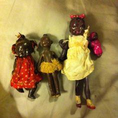 Antique bisque black Doll Black Celluloid 3 Dolls
