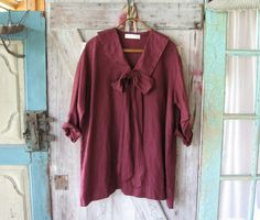 linen top in wine burgundy ready to ship