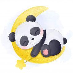 Cute Panda Drawing, Cute Panda Cartoon, Niedlicher Panda, Panda Bebe, Cute Baby Bunnies, Cute Baby Animals, Cute Babies, Baby Animal Drawings, Cute Cartoon Drawings