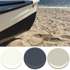 When I saw this lifeguard rescue boat on the beach I immediately thought of Benjamin Moore's Hale Navy. Paired with Simply White and Manchester Tan makes it a classic combo. So crisp and clean!