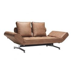 Ghia Chrome and Wood Sofabed from Innovation Living - Danish Design & Quality Canapé Convertible Design, Innovation Living, Outdoor Sofa, Outdoor Furniture, Leather Sofa Bed, Canapé Design, Couch, Sofa Beds, Homes