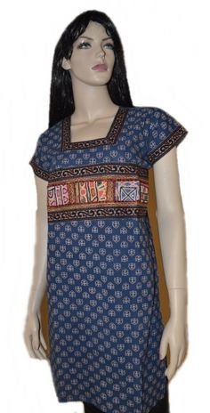 This is a Rabari border work Kurti in indigo blue color with traditional border at the yoke.This cotton kurta is exclusively designed in traditional style.t can be worn smartly with a pair of leggings or denims. Indian Tunic, Indigo Blue, Kurtis, Tunics, High Neck Dress, Pairs, Leggings, Traditional, Denim