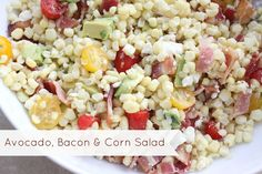 The Larson Lingo: Avocado, Bacon & Corn Salad - this could be a main meal or a side!  There is feta in it! Mmmmm!