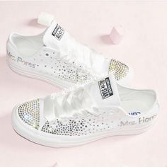 detailed look e3bbf 325d4 Bridal Converse, Crystal Shoes, Clear Crystal, Custom Converse, Bridal Shoes,  Wedding Shoes, Crystal Wedding, White Satin, Luxury Jewelry
