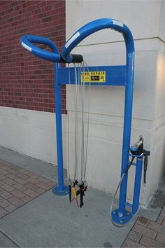 An express bike repair station on campus near the Ikenberry Commons Community.