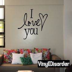 I Love you Valentine's Day Holiday Vinyl Wall Decal Mural Quotes Words HD043
