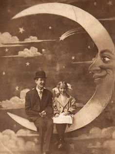 Father and Daughter on a Paper Moon. c 1910....