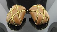 Ferro Jewelers - Estate Jewelry | 18K Seaman Schepps Gold and Wood Earrings