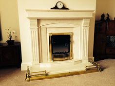 Large limestone fireplace from fireduptrade