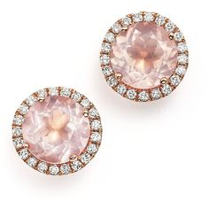 Dana Rebecca Designs 14K Rose Gold, Diamond, and Pink Quartz Anna Beth... (5.795 BRL) ❤ liked on Polyvore featuring jewelry, earrings, accessories, brincos, studs, 14k diamond earrings, pink earrings, rose gold earrings, diamond earrings and diamond stud earrings