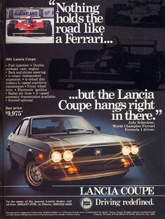 This 1981 Lancia Beta ad tries to brand Lancia as a baby Ferrari.