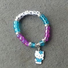 girls beaded name bracelet with block letters and metal beads by Karensbracelets, $11.00 USD