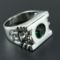 Green Lantern Ring With Austrian Crystal Men Jewelry Us Size 712