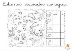 "Proyecto ""La vuelta al mundo"". Fichas para imprimir. Class Activities, Preschool Lessons, Therapy Activities, Math Bingo, Ocean Unit, Ocean Crafts, Hidden Pictures, Rainbow Fish, Sea Theme"