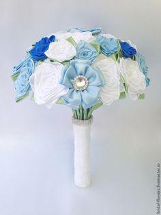 Брошь букет невесты. Голубой и белый #bridalbouquet #wedding #handmade