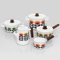 Orla Kiely Enamel! Beautiful new vitreous enamel range of pots and pans by @orlakiely #orlakiely