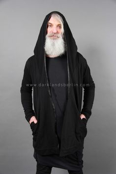 Leather-trimmed hooded cardigan | Products | Darklands Berlin