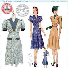 E-Pattern- Circa 1939 Victory Dress Pattern- 1930s 1940s- Wearing History PDF…
