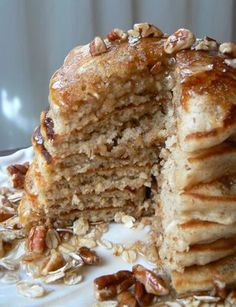 oatmeal pecan pancakes. Replace the eggs with flax eggs and the buttermilk with almond milk with a tbsp of apple cider vinegar mix in. vegan