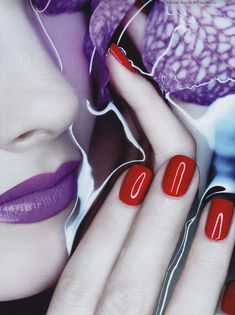 Purple and red. #Lips #Nails #Water #Style