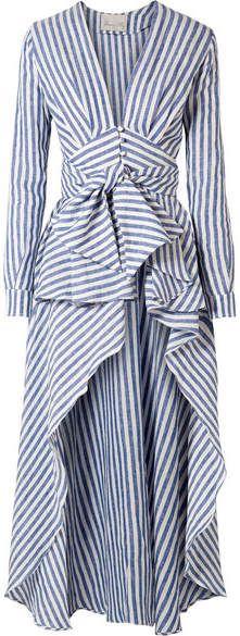 Shop for Johanna Ortiz - Rio Grande Asymmetric Ruffled Striped Linen Blouse - Blue at ShopStyle. Now for $1,150.