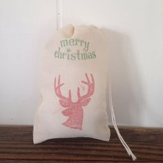 Merry Christmas Deer Party Favor Bags 10 Cotton Muslin Gift Bags by www.SweetThymes.com