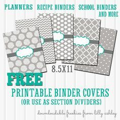 Free Binder Cover Printables set of 5 with Printable Spine Sheet