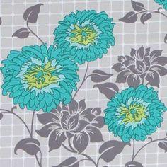 160916 grauer Michael Miller Stoff türkise Blumen
