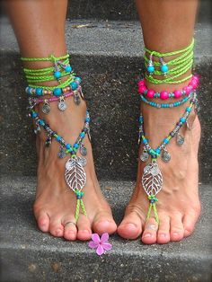 NEON green BAREFOOT sandals LEAF Toe anklets Woodland by GPyoga, $76.00