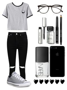 """Dark"" by casualbandgirl ❤ liked on Polyvore featuring Chicnova Fashion, Boohoo, Converse, NARS Cosmetics, Bobbi Brown Cosmetics, Illesteva, casual and teen"